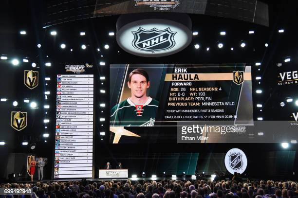 Erik Haula is selected by the Vegas Golden Knights during the 2017 NHL Awards and Expansion Draft at TMobile Arena on June 21 2017 in Las Vegas Nevada