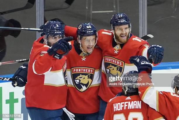 Erik Haula of the Florida Panthers celebrates his power-play goal at 4:02 of the second period against the New York Islanders in Game Three of the...