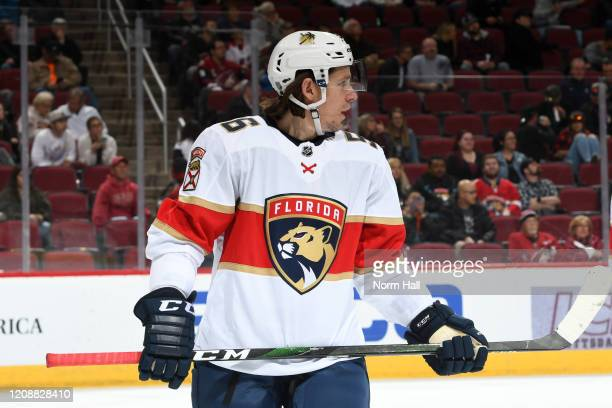 Erik Haula of the Florida Panthers looks up ice prior to taking a face off against the Arizona Coyotes at Gila River Arena on February 25 2020 in...