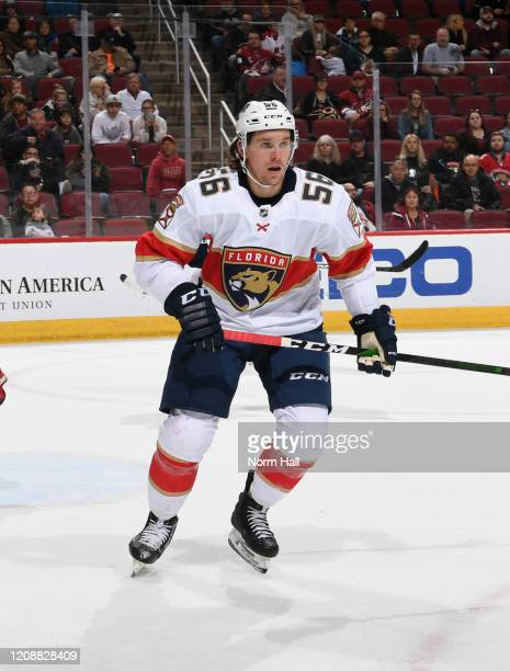 Erik Haula of the Florida Panthers skates up ice against the Arizona Coyotes at Gila River Arena on February 25 2020 in Glendale Arizona