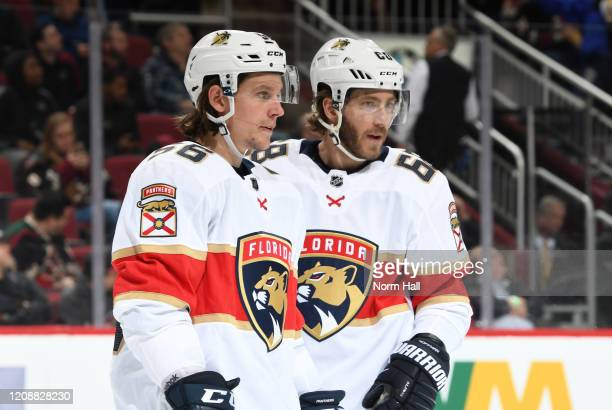 Erik Haula of the Florida Panthers talks with teammate Mike Hoffman during a stop in play of a game against the Arizona Coyotes at Gila River Arena...
