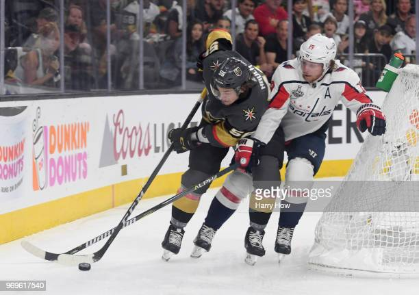 Erik Haula of the Vegas Golden Knights battles for the puck with Nicklas Backstrom of the Washington Capitals during the first period in Game Five of...