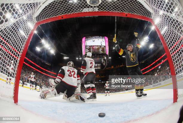 Erik Haula of the Vegas Golden Knights celebrates a goal by Deryk Engelland at 4:18 of the first period against Antti Raanta of the Arizona Coyotes...