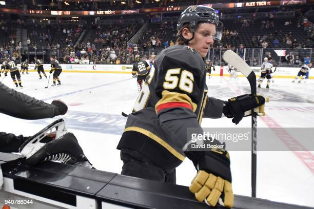 Erik Haula of the Vegas Golden Knights checks his skates prior to the game against the St Louis Blues at TMobile Arena on March 30 2018 in Las Vegas...