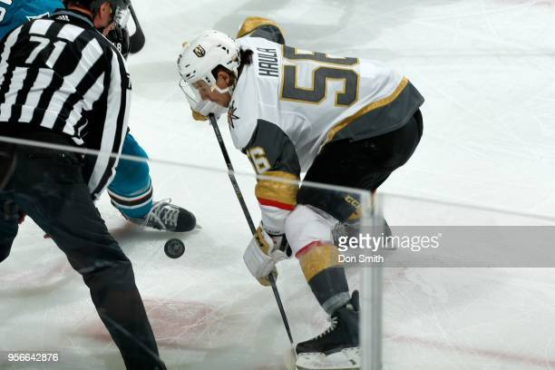Erik Haula of the Vegas Golden Knights looks at the puck during a faceoff in Game Six of the Western Conference Second Round against the San Jose...