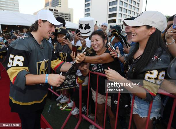 Erik Haula of the Vegas Golden Knights signs autographs for fans as he arrives at the Vegas Golden Knights Fan Fest at the Downtown Las Vegas Events...