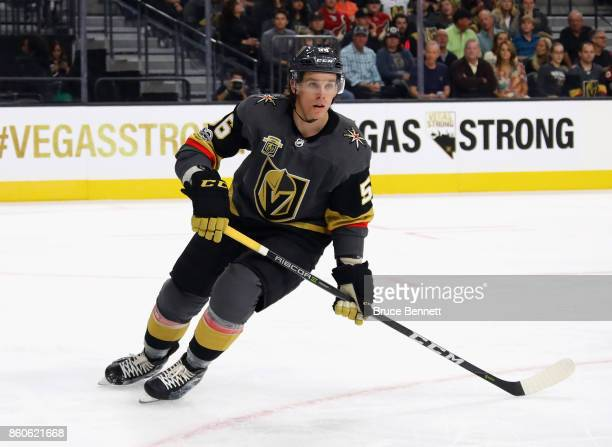 Erik Haula of the Vegas Golden Knights skates against the Arizona Coyotes during the Golden Knights' inaugural regularseason home opener at TMobile...