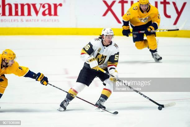 Erik Haula of the Vegas Golden Knights skates against the Nashville Predators during an NHL game at Bridgestone Arena on January 16 2018 in Nashville...