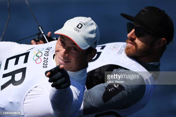 Erik Heil and Thomas Ploessel of Germany practice in the Men's Skiff - 49er class during sailing previews on day one of the Tokyo 2020 Olympic Games...