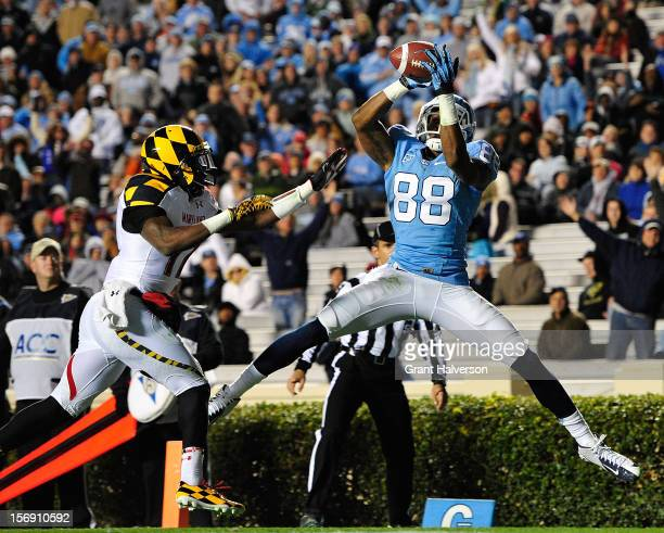Erik Highmith of the North Carolina Tar Heels makes a touchdown catch against Isaac Goins of the Maryland Terrapins during play at Kenan Stadium on...
