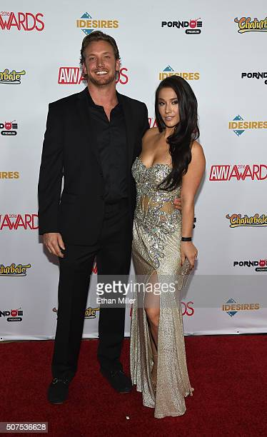 Erik Horbacz and adult film actress Eva Lovia attend the 2016 Adult Video News Awards at the Hard Rock Hotel & Casino on January 23, 2016 in Las...