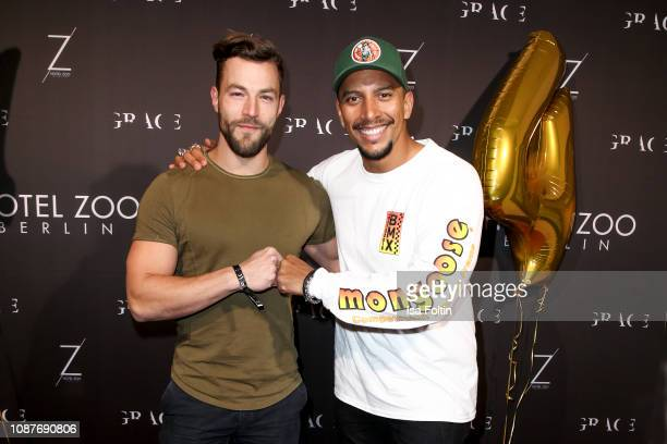Erik Jaeger and German singer Andreas Bourani during the 4 year anniversary party of GRACE Restaurant at Hotel Zoo on January 23 2019 in Berlin...