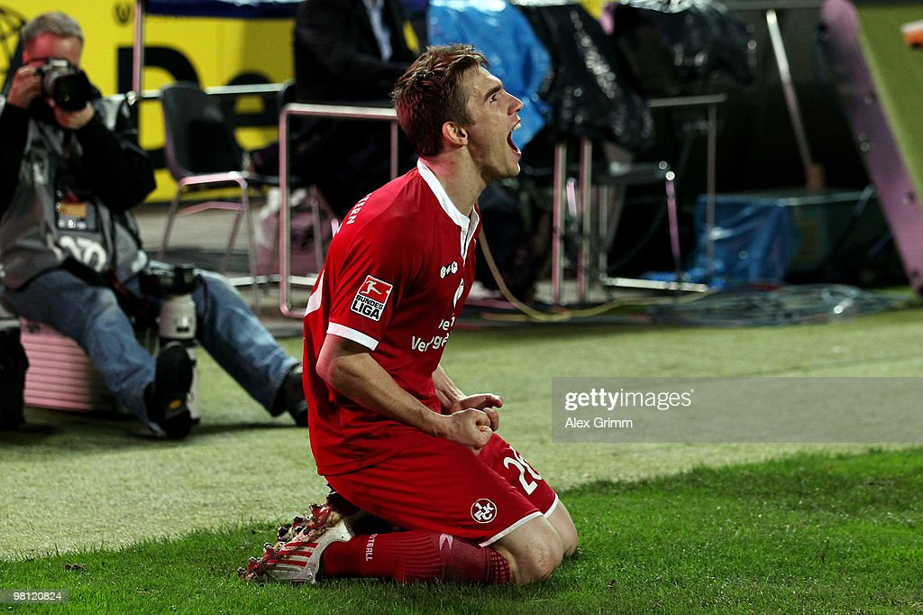 Erik Jendrisek of Kaiserslautern celebrates his team's third goal during the Second Bundesliga match between 1. FC Kaiserslautern and 1860 Muenchen at the Fritz-Walter Stadium on March 29, 2010 in Kaiserslautern, Germany.