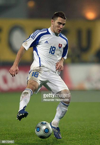 Erik Jendrisek of Slovakia runs with the ball during the international friendly match between Slovakia and Chile at the MSK Zilina stadium on...