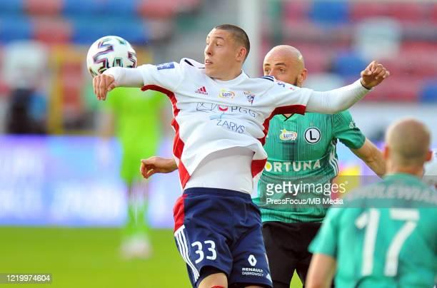 Erik Jirka of Gornik Zabrze in action during the PKO Ekstraklasa match between Gornik Zabrze and Legia Warszawa on June 14, 2020 in Zabrze, Poland.