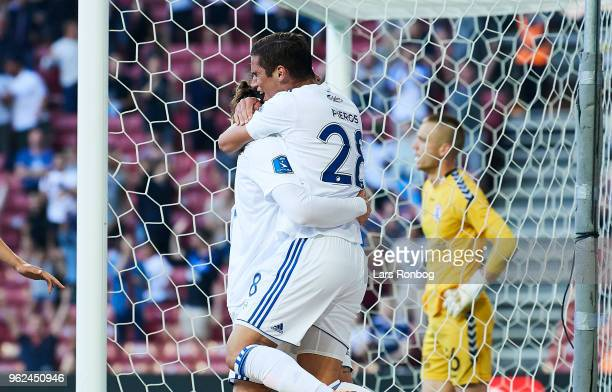 Erik Johansson and Pieros Sotiriou of FC Copenhagen celebrate after scoring their second goal during the Danish Alka Superliga Europa League Playoff...