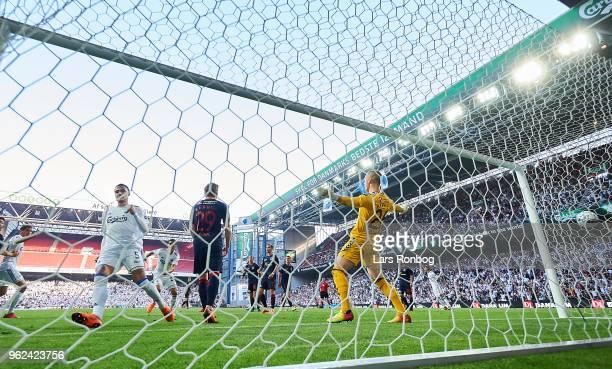 Erik Johansson of FC Copenhagen scores the 21 goal against Goalkeeper Aleksandar Jovanovic of AGF Aarhus during the Danish Alka Superliga Europa...