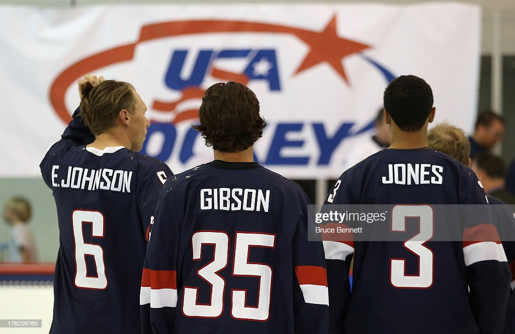 Erik Johnson, John Gibson and Seth Jones take part in a press conference introducing the 2014 USA Hockey Olympic Team candidates at the Kettler Capitals Iceplex on August 27, 2013 in Arlington, Virginia.