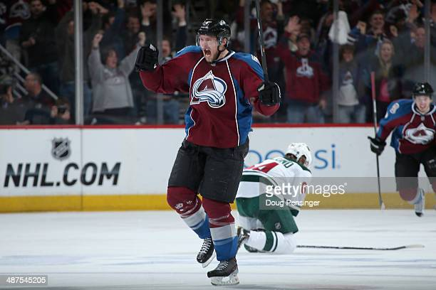 Erik Johnson of the Colorado Avalanche celebrates his goal against the Minnesota Wild to take a 43 lead in the third perod in Game Seven of the First...
