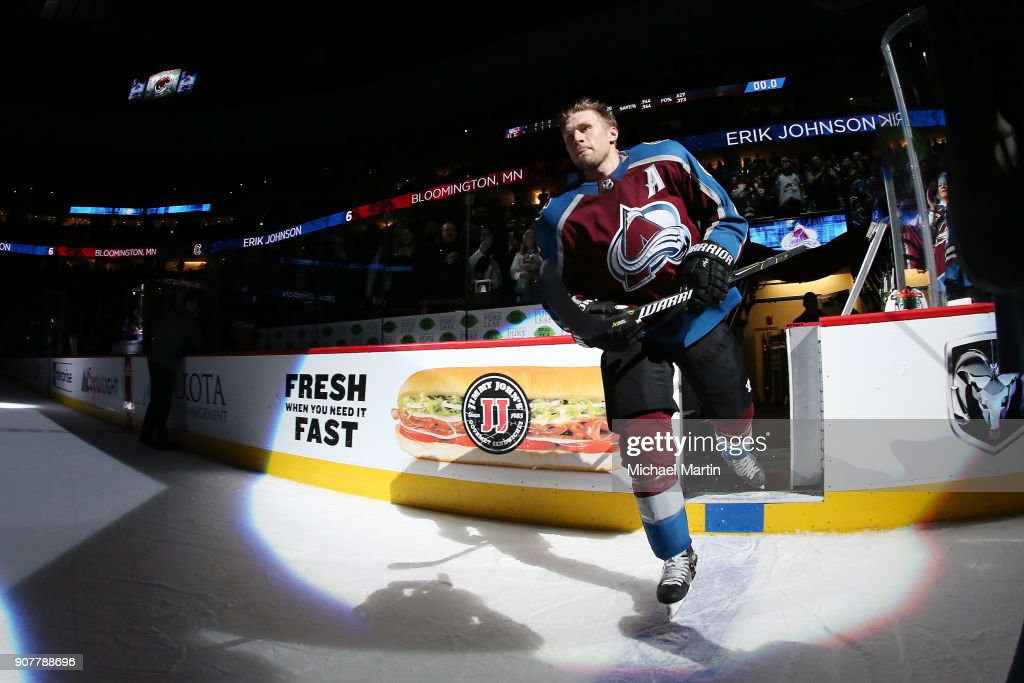 Erik Johnson #6 of the Colorado Avalanche is named first star of the game against the New York Rangers at the Pepsi Center on January 20, 2018 in Denver, Colorado. The Avalanche defeated the Rangers 3-1.