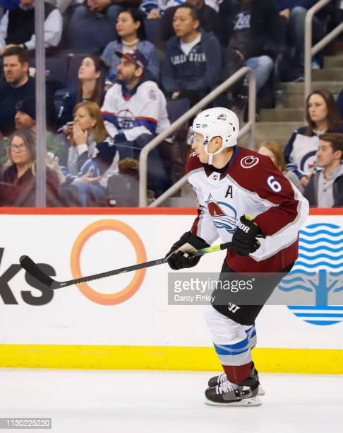 Erik Johnson of the Colorado Avalanche keeps an eye on the play during third period action against the Winnipeg Jets at the Bell MTS Place on...