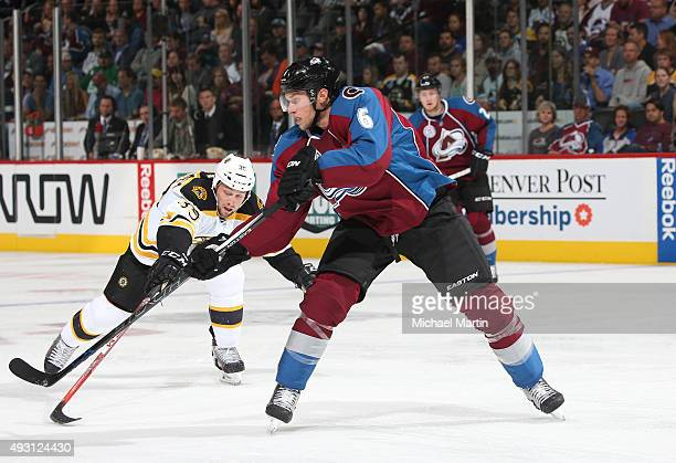 Erik Johnson of the Colorado Avalanche skates against the Boston Bruins at the Pepsi Center on October 14 2015 in Denver Colorado The Bruins defeated...
