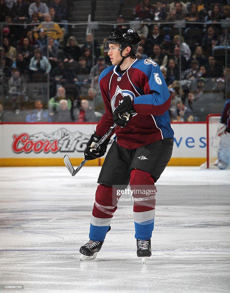 a22af5234c2 Erik Johnson of the Colorado Avalanche skates against the Edmonton ...