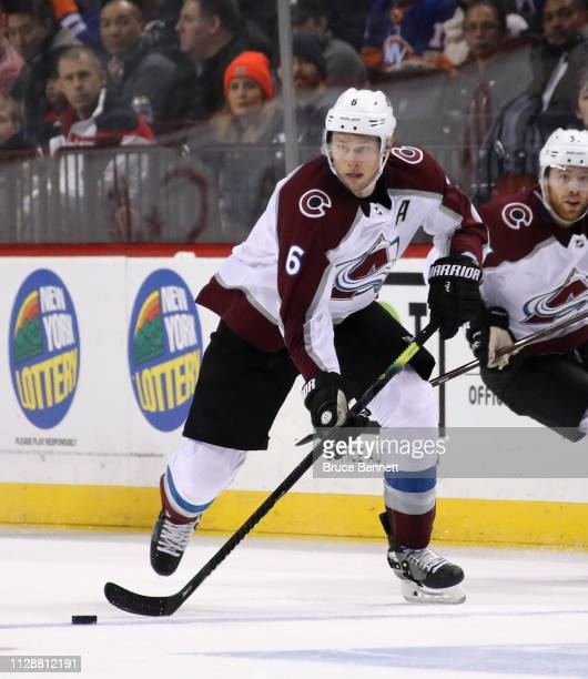 Erik Johnson of the Colorado Avalanche skates against the New York Islanders at the Barclays Center on February 09 2019 in the Brooklyn borough of...