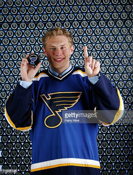 Erik Johnson of the St Louis Blues poses for a portrait backstage at the 2006 NHL Draft held at General Motors Place on June 24 2006 in Vancouver...