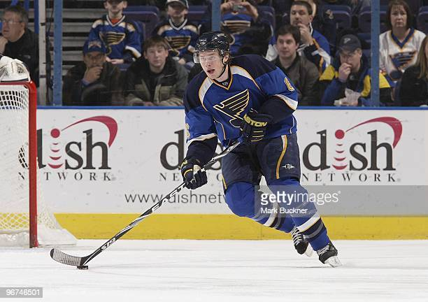 Erik Johnson of the St Louis Blues skates against the Toronto Maple Leafs on February 12 2010 at Scottrade Center in St Louis Missouri