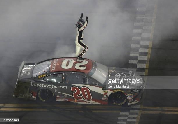 Erik Jones driver of the buyatoyotacom Toyota celebrates after winning the Monster Energy NASCAR Cup Series Coke Zero Sugar 400 at Daytona...