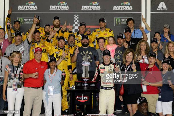 Erik Jones driver of the buyatoyotacom Toyota celebrates winning the Coke Zero 400 Monster Energy Cup Series race on July 7 at Daytona International...