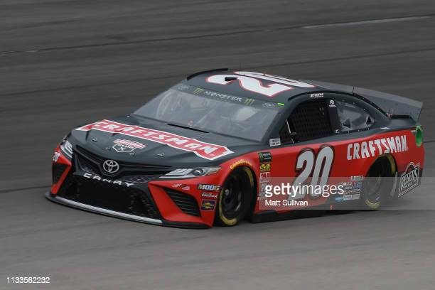 Erik Jones driver of the Craftsman Toyota practices for the Monster Energy NASCAR Cup Series O'Reilly Auto Parts 500 at Texas Motor Speedway on March...