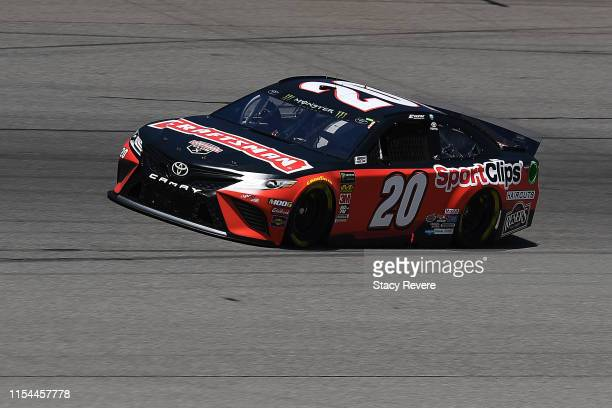 Erik Jones driver of the Craftsman/Sport Clips Toyota drives during practice for the Monster Energy NASCAR Cup Series FireKeepers Casino 400 at...