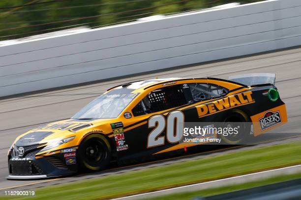 Erik Jones driver of the DeWalt Toyota practices for the Monster Energy NASCAR Cup Series Pocono 400 at Pocono Raceway on May 31 2019 in Long Pond...
