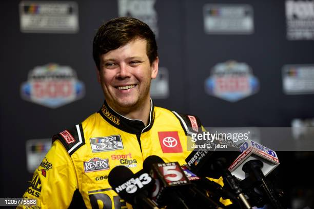 Erik Jones, driver of the DEWALT Toyota, speaks with the media during the NASCAR Cup Series 62nd Annual Daytona 500 Media Day at Daytona...