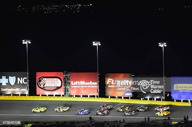 Erik Jones driver of the Dollar General Toyota leads a pack of trucks during the NASCAR Camping World Truck Series North Carolina Education Lottery...