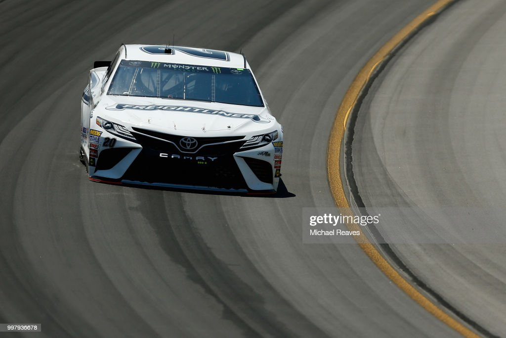 Erik Jones, driver of the #20 Freightliner Toyota, practices for the Monster Energy NASCAR Cup Series Quaker State 400 presented by Walmart at Kentucky Speedway on July 13, 2018 in Sparta, Kentucky.