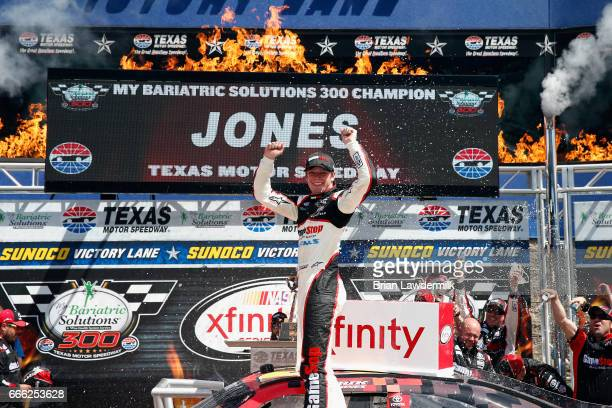 Erik Jones driver of the GameStop/GAEMS Toyota celebrates in Victory Lane after winning the NASCAR XFINITY Series My Bariatric Solutions 300 at Texas...