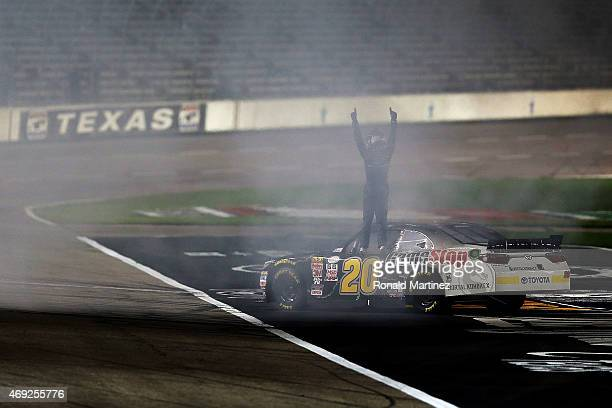 Erik Jones driver of the GameStop/Mortal Kombat X Toyota celebrates after winning the NASCAR XFINITY Series O'Reilly Auto Parts 300 at Texas Motor...