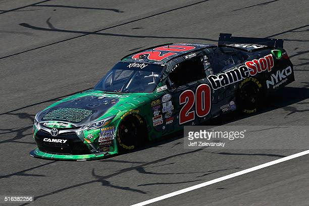 Erik Jones driver of the Gamestop/Nyko Toyota practices for the NASCAR Xfinity Series TreatMyClotcom 300 at Auto Club Speedway on March 18 2016 in...