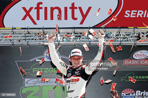 Erik Jones driver of the Gamestop/Performance Designed Products Toyota celebrates in Victory Lane after winning the NASCAR XFINITY Series Fitzgerald...