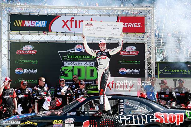 Erik Jones, driver of the Gamestop/Performance Designed Products Toyota, celebrates in Victory Lane after winning the NASCAR XFINITY Series...