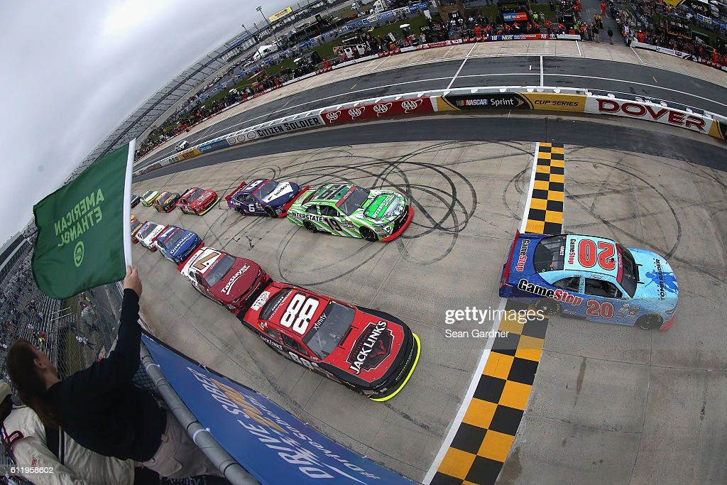 Erik Jones, driver of the #20 GameStop/Rise of the Tomb Raider: 20 Year Celebration Toyota, leads the field past the green flag to start the NASCAR XFINITY Series Drive Sober 200 at Dover International Speedway on October 2, 2016 in Dover, Delaware.