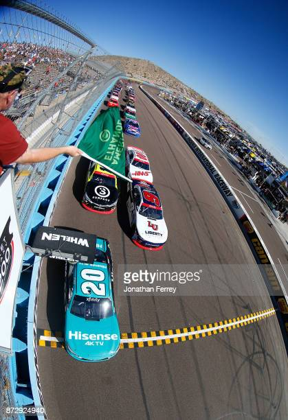 Erik Jones driver of the Hisense Toyota takes the green flag to start the NASCAR Xfinity Series Ticket Galaxy 200 at Phoenix International Raceway on...