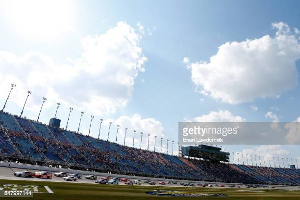 Erik Jones driver of the NBA 2K18/GameStop Toyota leads the field to turn one after taking the green flag to start the NASCAR XFINITY Series...
