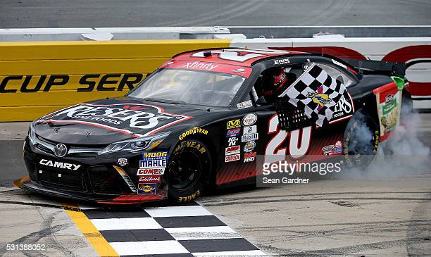 Erik Jones driver of the Reser's Fine Foods Toyota celebrates after winning the NASCAR XFINITY Series Ollie's Bargain Outlet 200 at Dover...
