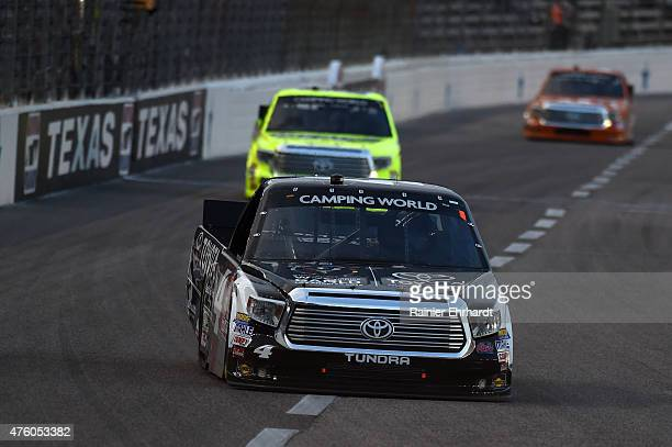 Erik Jones driver of the Special Olympics World Games Toyota leads a pack of trucks during the NASCAR Camping World Truck Series WinStar World Casino...