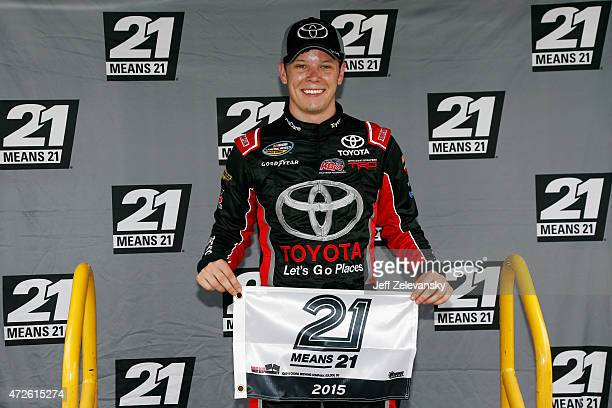 Erik Jones driver of the Toyota celebrates after winning the pole award during qualifying for the NASCAR Camping World Truck Series Toyota Tundra 250...