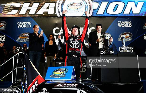 Erik Jones, driver of the Toyota, celebrates winning the series championship after the NASCAR Camping World Truck Series Ford EcoBoost 200 at...